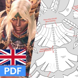 Preview of all printable patterns to make Zinogre breastplate - Monster Hunter